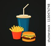 fast food icon. colorful vector ... | Shutterstock .eps vector #1130476748