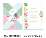 vector flamingo exotic forest... | Shutterstock .eps vector #1130478212