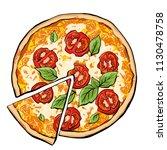 pizza margarita with slice   Shutterstock .eps vector #1130478758