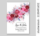 floral wedding invitation card...   Shutterstock .eps vector #1130491652