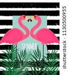 cute pink flamingo summer... | Shutterstock .eps vector #1130500955