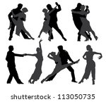 tango dancers silhouette on...