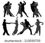 tango dancers silhouette on... | Shutterstock .eps vector #113050735