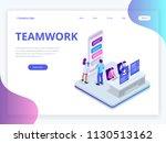 isometric business teamwork... | Shutterstock .eps vector #1130513162