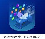 isometric programmer coding new ... | Shutterstock .eps vector #1130518292