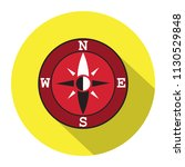 a compass flat icon in a yellow ...   Shutterstock .eps vector #1130529848