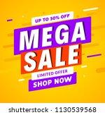 mega sale banner template... | Shutterstock .eps vector #1130539568