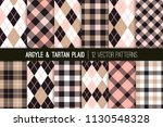 pink  beige and black argyle ... | Shutterstock .eps vector #1130548328