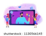 people taking selfie with... | Shutterstock .eps vector #1130566145