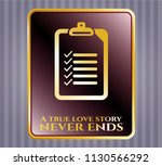 gold shiny badge with list... | Shutterstock .eps vector #1130566292