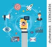 messenger marketing  mobile... | Shutterstock .eps vector #1130616836