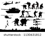 set of military silhouettes ... | Shutterstock .eps vector #1130631812