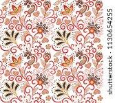 hand drawn flower seamless... | Shutterstock . vector #1130654255