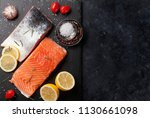 raw salmon fish fillet with... | Shutterstock . vector #1130661098
