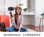 asian young female blogger... | Shutterstock . vector #1130666312