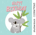 happy birthday card with fun... | Shutterstock .eps vector #1130679365
