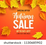 autumn sale vector banner... | Shutterstock .eps vector #1130685902