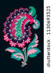 embroidery of fantasy flowers....   Shutterstock .eps vector #1130693525