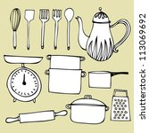 kitchen tools vector...   Shutterstock .eps vector #113069692