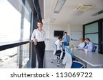 business woman  with her staff  ... | Shutterstock . vector #113069722