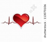 heart and heartbeat symbol... | Shutterstock . vector #113070106