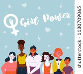 girl power lettering text and... | Shutterstock .eps vector #1130709065