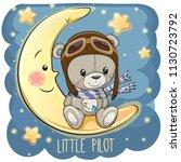 cute cartoon teddy bear in a... | Shutterstock .eps vector #1130723792