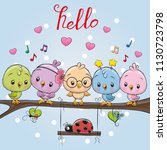 five cute cartoon birds and... | Shutterstock .eps vector #1130723798