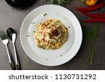 pasta carbonara and poach egg...   Shutterstock . vector #1130731292