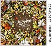 cartoon vector doodles pizza... | Shutterstock .eps vector #1130734622