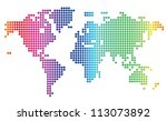 multicolored dotted world map.... | Shutterstock .eps vector #113073892