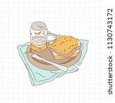 delicious breakfast peanut...   Shutterstock .eps vector #1130743172