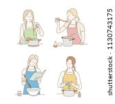 various characters cooking... | Shutterstock .eps vector #1130743175