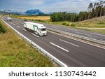 the stretch of motorway with a... | Shutterstock . vector #1130743442