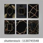 marble with golden texture... | Shutterstock .eps vector #1130745548