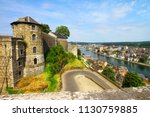 Namur, Belgium, July 22, 2016. The view of the mighty tower of Namur citadel and town with its bridges, houses, churches, Sambre and Meuse rivers. Namur is capital of province of Namur and of Wallonia