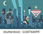 night las vegas skyline with... | Shutterstock .eps vector #1130766095