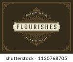 vintage ornament greeting card... | Shutterstock .eps vector #1130768705