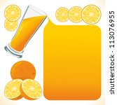 orange juice flows out and... | Shutterstock .eps vector #113076955