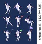 astronauts. cartoon cosmonauts... | Shutterstock .eps vector #1130794535