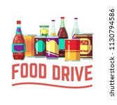 holiday food drive concept.... | Shutterstock .eps vector #1130794586
