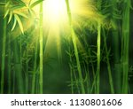 green bamboo trees with leaves... | Shutterstock . vector #1130801606