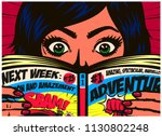 pop art comics style excited... | Shutterstock .eps vector #1130802248