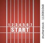 start track. line on a red... | Shutterstock .eps vector #113081068