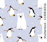 polar bear and penguin seamless ... | Shutterstock .eps vector #1130818316