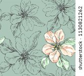seamless pattern with delicate... | Shutterstock .eps vector #1130821262