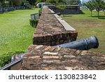 the old large caliber cannon at ... | Shutterstock . vector #1130823842