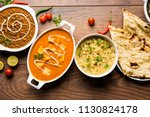 assorted indian food for lunch... | Shutterstock . vector #1130824178