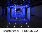 glowing blue tunnel background. ... | Shutterstock . vector #1130832965