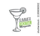 vector glass of margarita... | Shutterstock .eps vector #1130838302